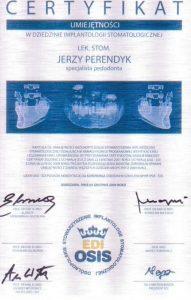 Certyfikat umiejętności w implantologii stomatologicznej